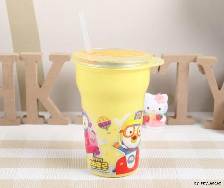 뽀로로 흘림방지스텐빨대컵(노란색)