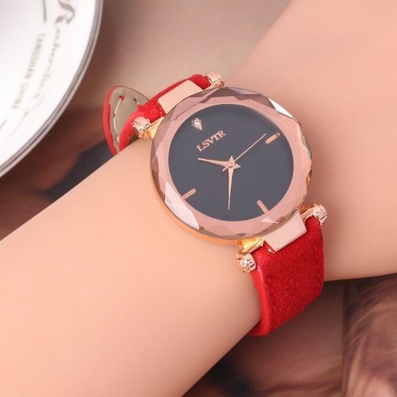 패션 악세서리 여성 가죽밴드 손목시계(레드)
