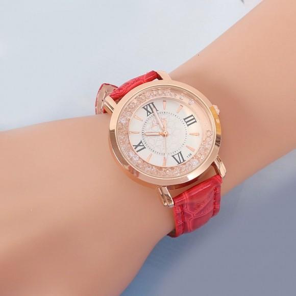 패션 악세서리 여성 비즈 가죽밴드 손목시계(레드)