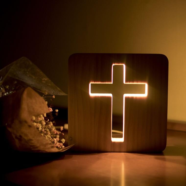 은은한LED 원목 십자가 USB 무드등(15cm)